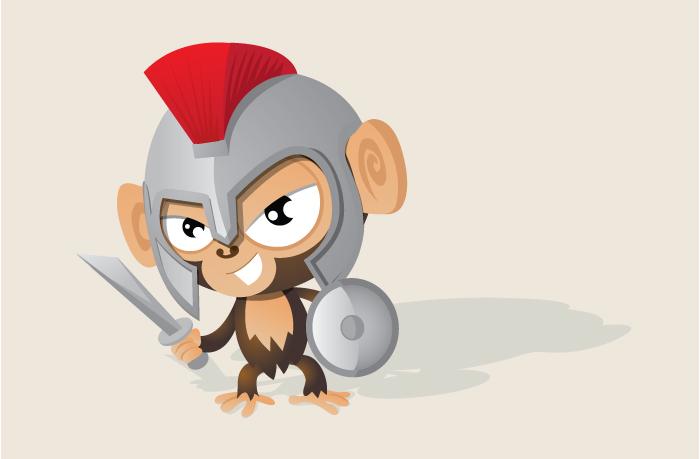 Monkey mascot cricket gladiator