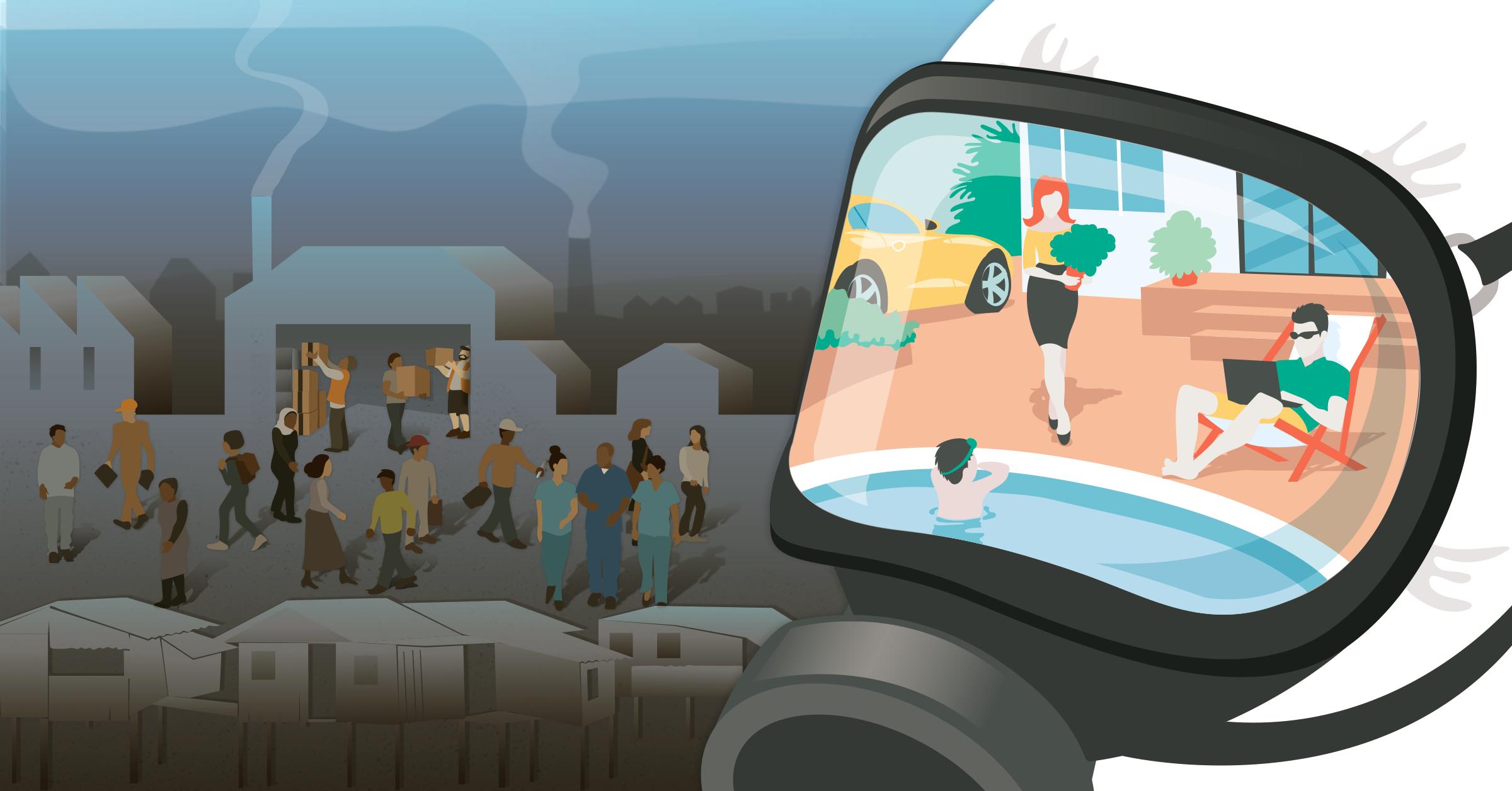 Hazmat suit face mask swimming pool inequality illustration