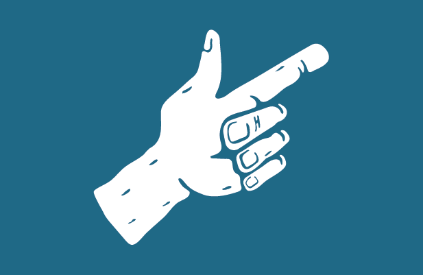 illustrated hand pointing finger blue